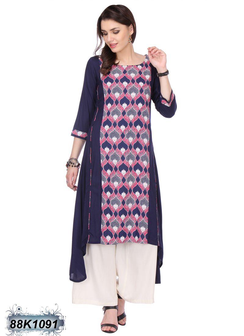 Pink n purple dress  Rust Navy Blue Coloured Rayon Kurti  Beautiful Kurtis online