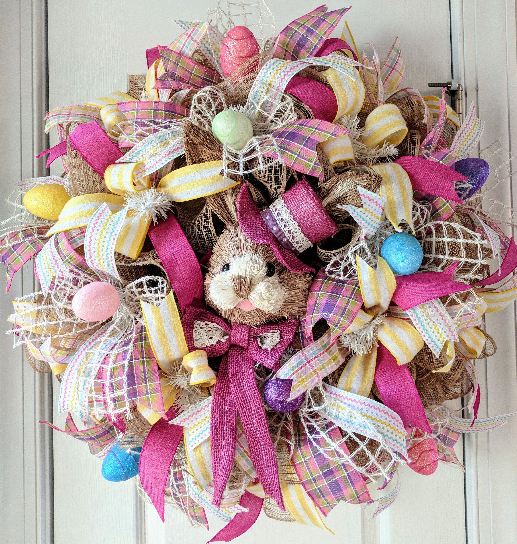 Easter wreath for your door, Easter bunny wreath front door decor ...