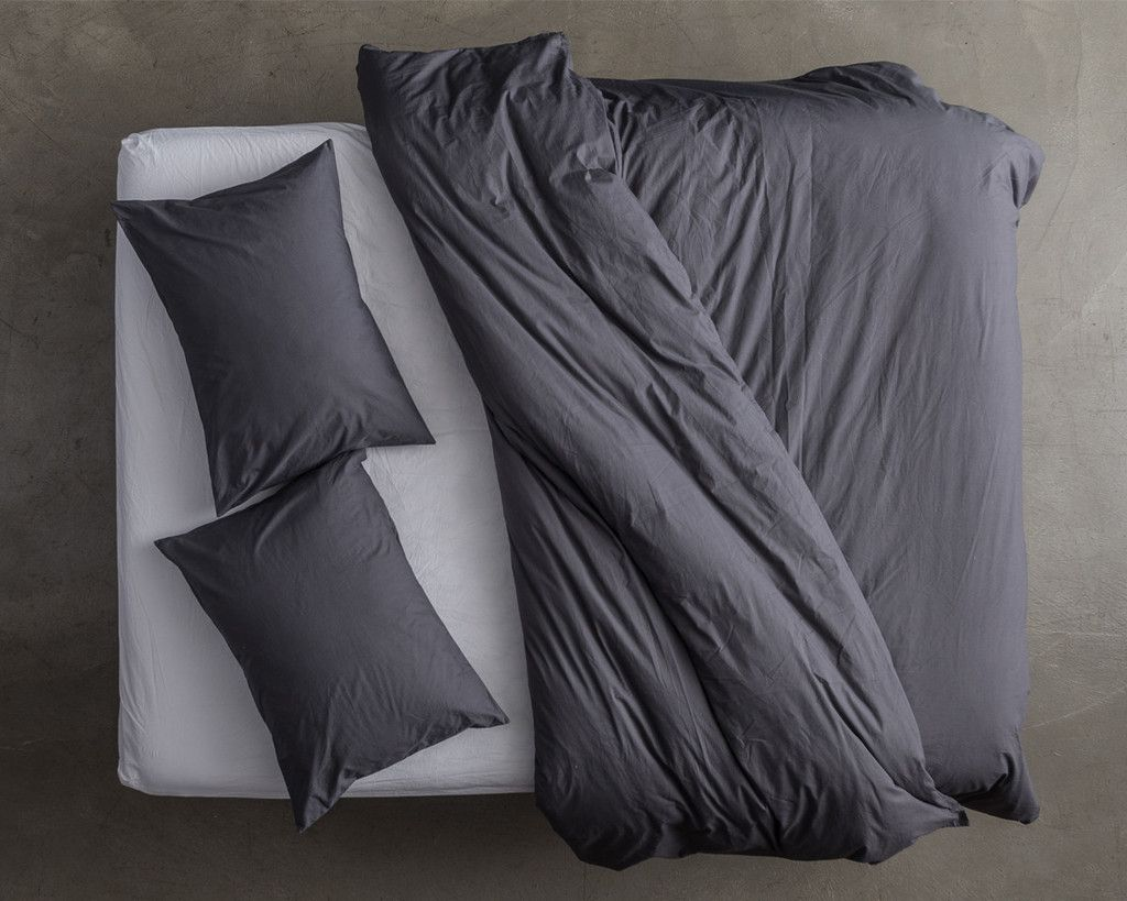 Bed design top view image - Top View Duvet Cover Slate Percale