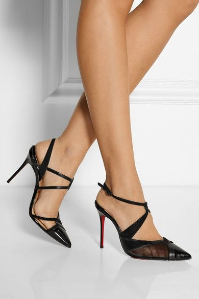 Heel measures approximately 100mm/ 4 inches Black leather, patent-leather, suede and mesh Buckle-fastening ankle strap