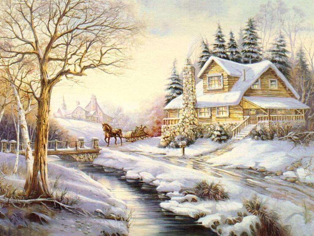 Winter Lake House Painting HD Wallpapers | Wallpapers | Pinterest ...