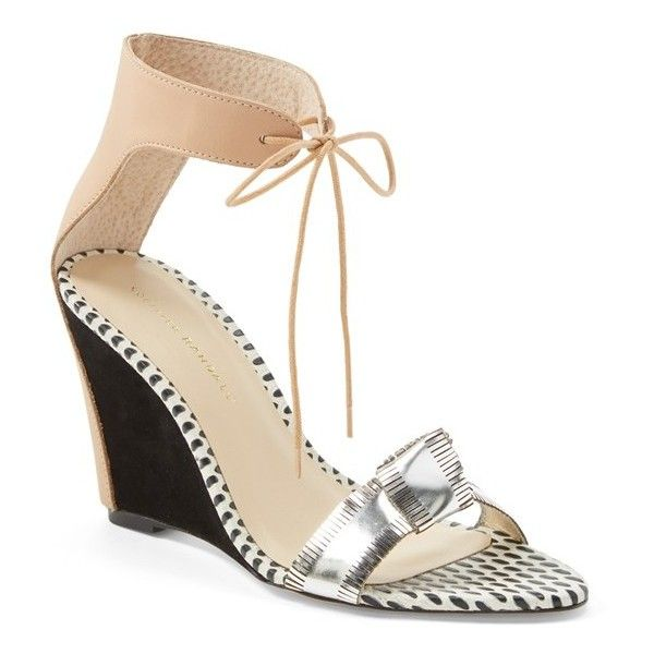 "Loeffler Randall 'Nora' Sandal, 3 1/2"" heel (5 170 ZAR) ❤ liked on Polyvore featuring shoes, sandals, ankle wrap sandals, ankle strap sandals, high heel wedge sandals, ankle strap wedge sandals and loeffler randall sandals"