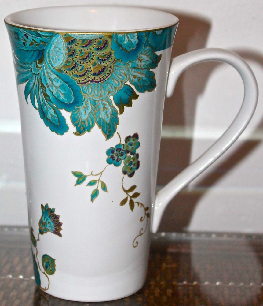 Eliza Teal Latte Coffee Cup White Floral