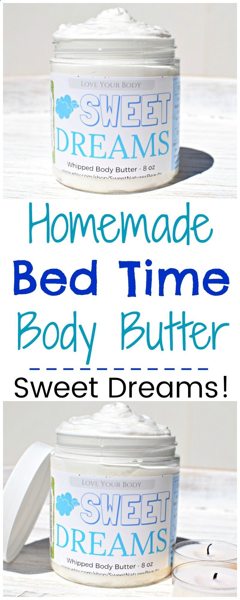 This homemade bed time body butter has an essential oil blend that will help you relax! The shea butter and coconut oil is great for natural beauty. Homemade lotion for dry skin.