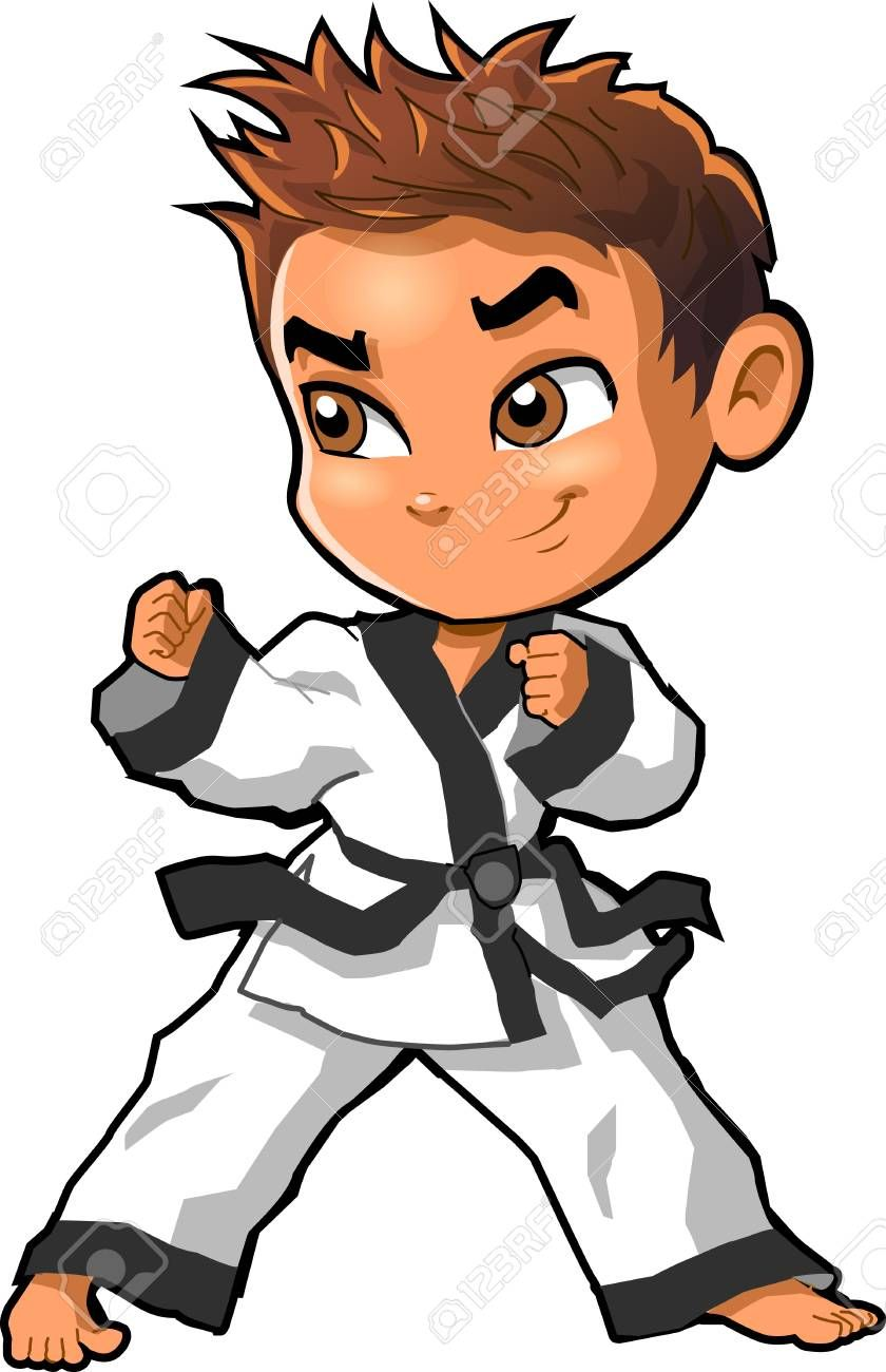 Karate Martial Arts Tae Kwon Do Dojo Vector Clip Art Cartoon Illustration Sponsored Tae Kwon Dibujos De Taekwondo Patadas De Taekwondo Karate Dibujo