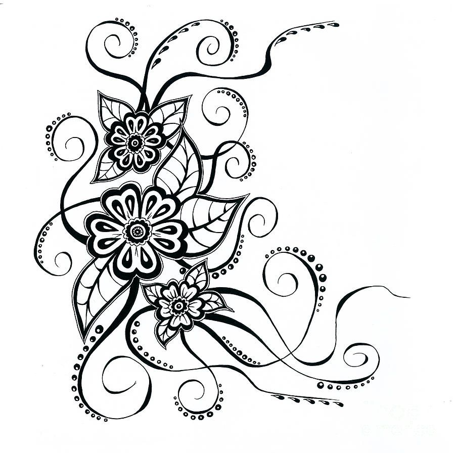 simple flower designs drawings - Google Search | Siyah ...