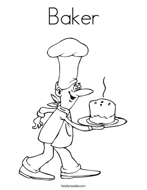 Baker Coloring Page Tracing Twisty Noodle Coloring Pages