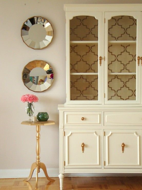 Cream Hutch With Gold Accents And A Wallpapered Back Love The Wallpapers I Could Dining Room