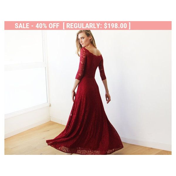 8af27e5cd56f End of the Year Off-the-Shoulder Bordeaux Floral Lace Long Sleeve ...