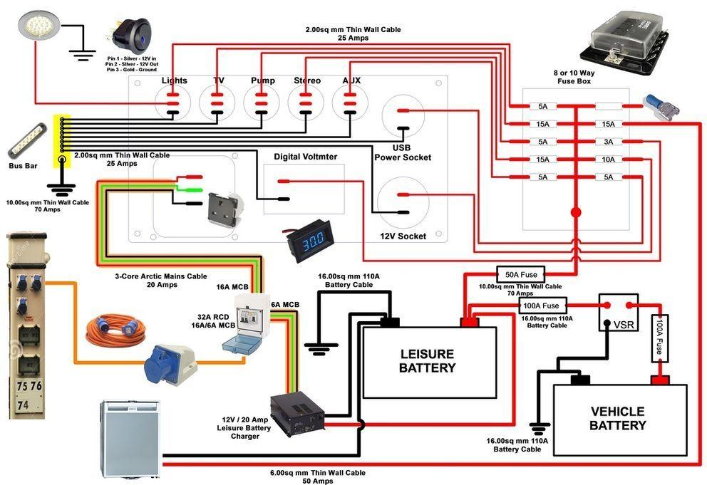 Transit Caravan Etc. Camper T4 Split Charge Leisure Battery Relay Kit for Motorhome