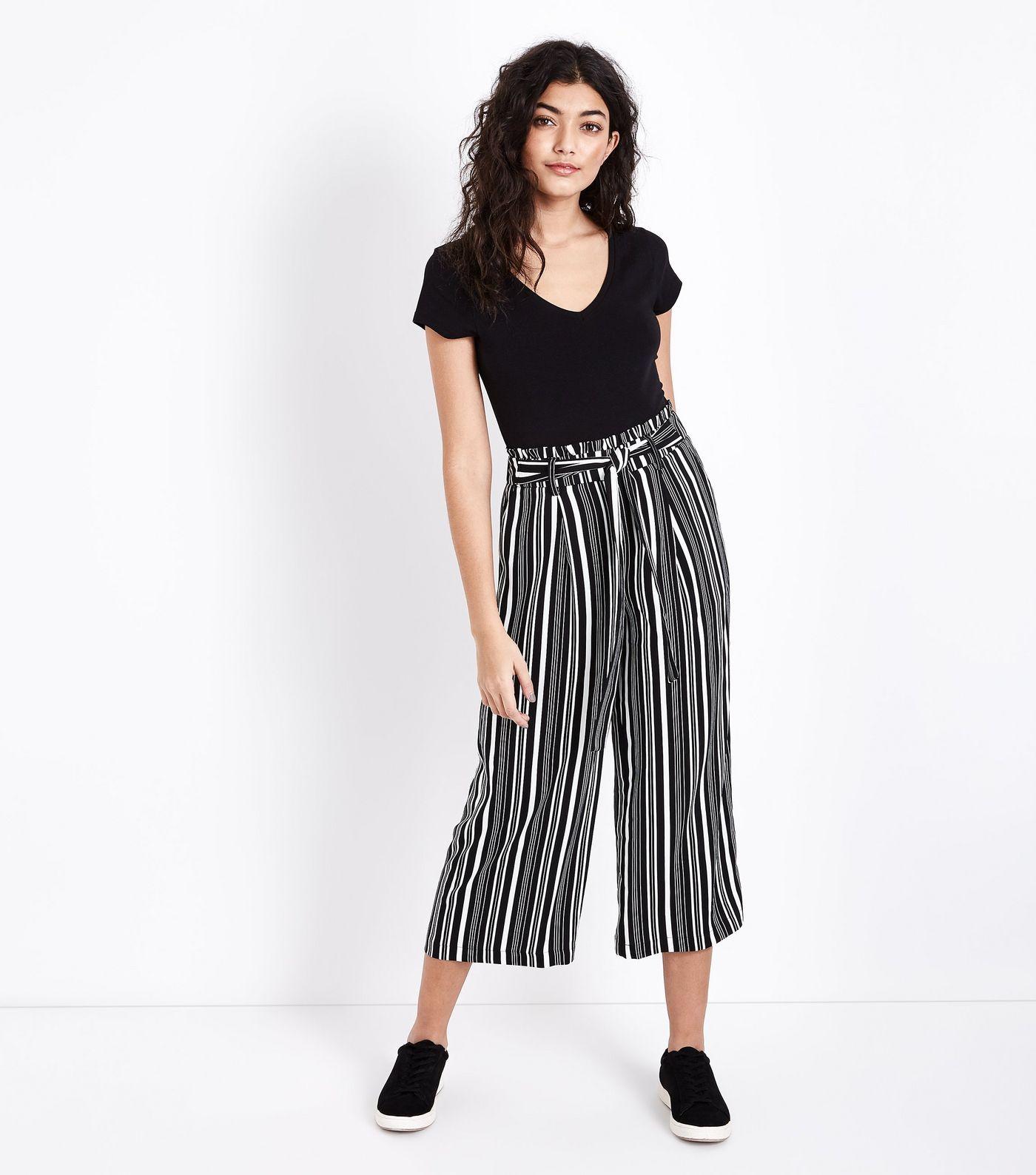 70769d9870 Black Stripe Tie Waist Cropped Wide Leg Trousers   India - Kerala ...