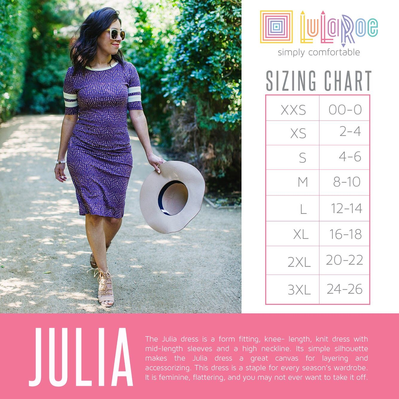 346da0fcf75 LuLaRoe Julia Dress Size Chart. See our current collection here -  www.facebook.com groups LuLaRoeGilbertGirls