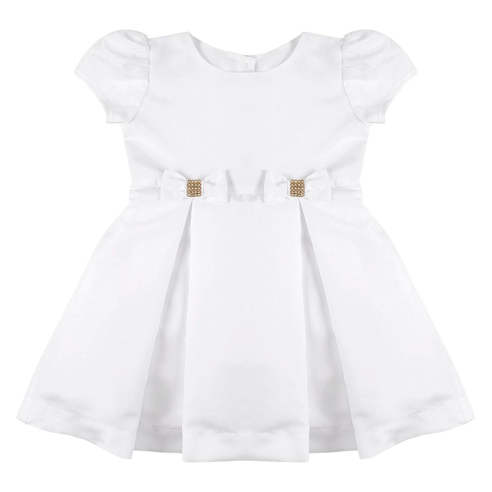 Vestido Infantil Essência Viva Batizado Com Lacinhos Branco