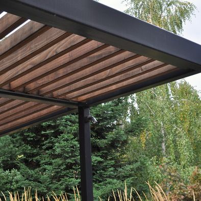 Modern steel shade pergola pergola metal roof outdoor for Contemporary garden trellis designs