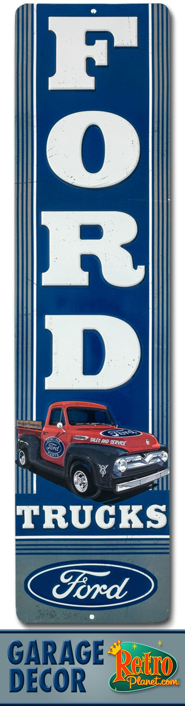 Ford work truck embossed tin sign pin up pinterest for Garage ford chelles 77