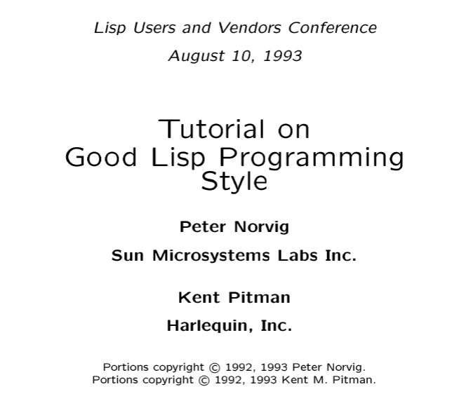 Tutorial On Good Lisp Programming Style By Peter Norvig And Kent M Pitman Http Norvig Com Luv Slides Ps 책