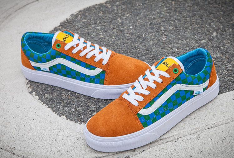 ba6721a6dff0ce Vintage Vans Golf Wang Checkerboard Old Skool Skate Shoes Blue Yellow  Vans