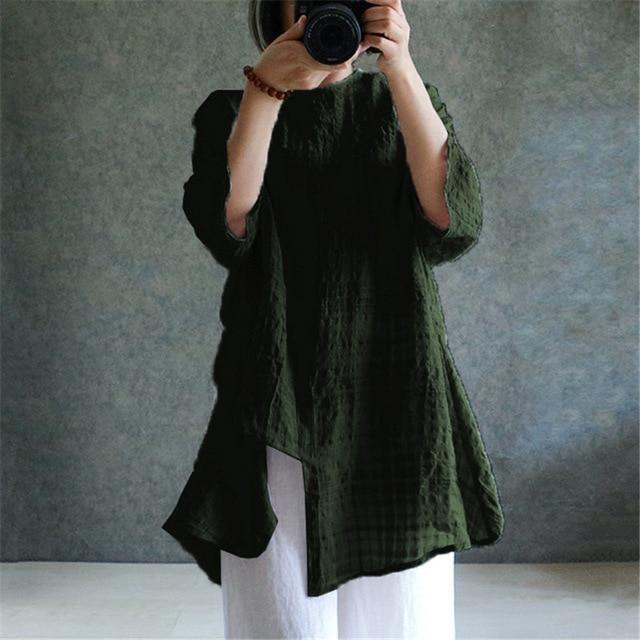 fb1e2fdd41e ZANZEA Plus Size S-5XL Women Linen Blouse Top 2018 Summer Long Sleeve Plaid  Vintage