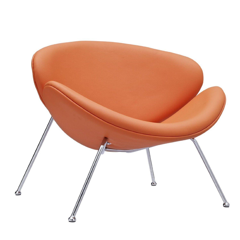 Amazon.com   LexMod Nutshell Mid Century Style Lounge Chair In Orange Vinyl