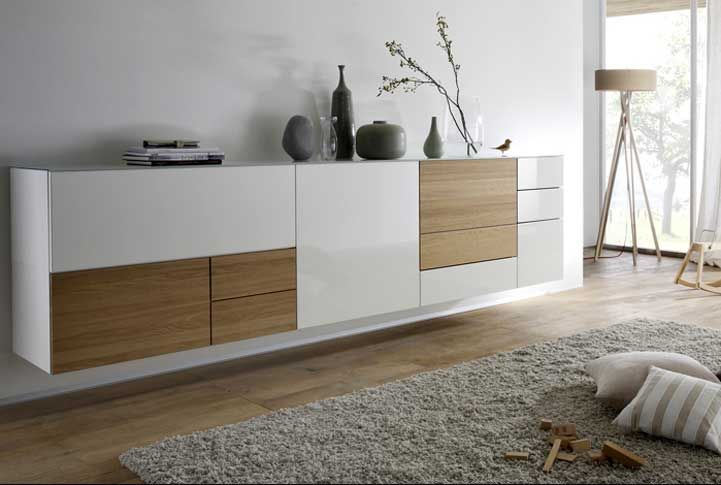 wohnm bel moderne sideboard h ngend wei hochglanz mit gepaart dem warmen oliv holz komplette. Black Bedroom Furniture Sets. Home Design Ideas
