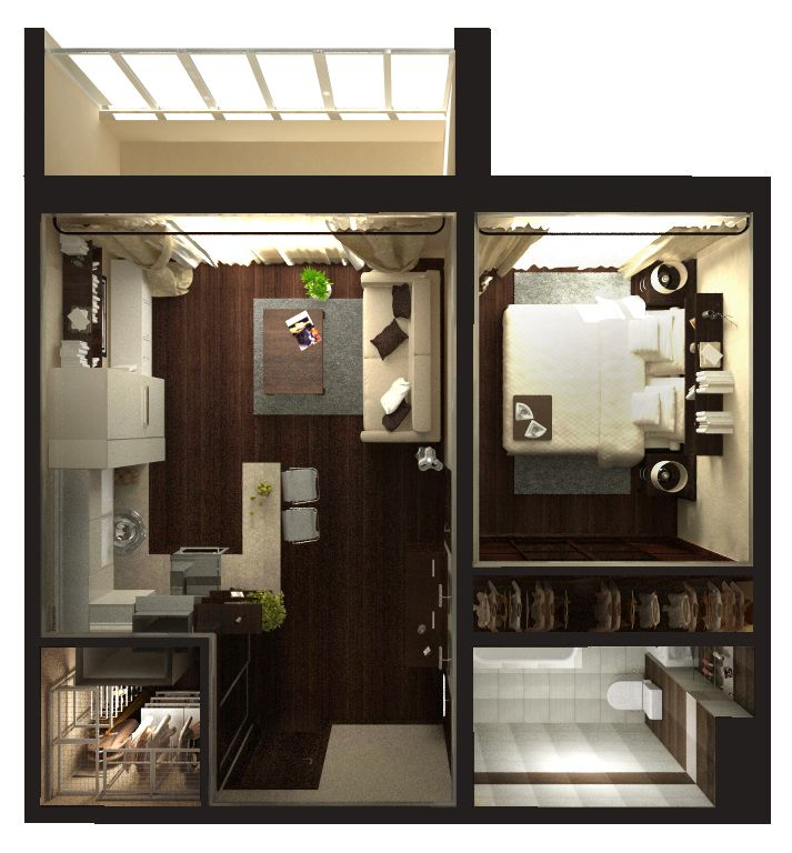 дизайн проект 1 комнатной квартиры 33 кв.м фото