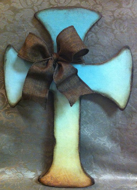 Turquoise Cross Wall Decor By Craftsbyamylou On Etsy 15 00