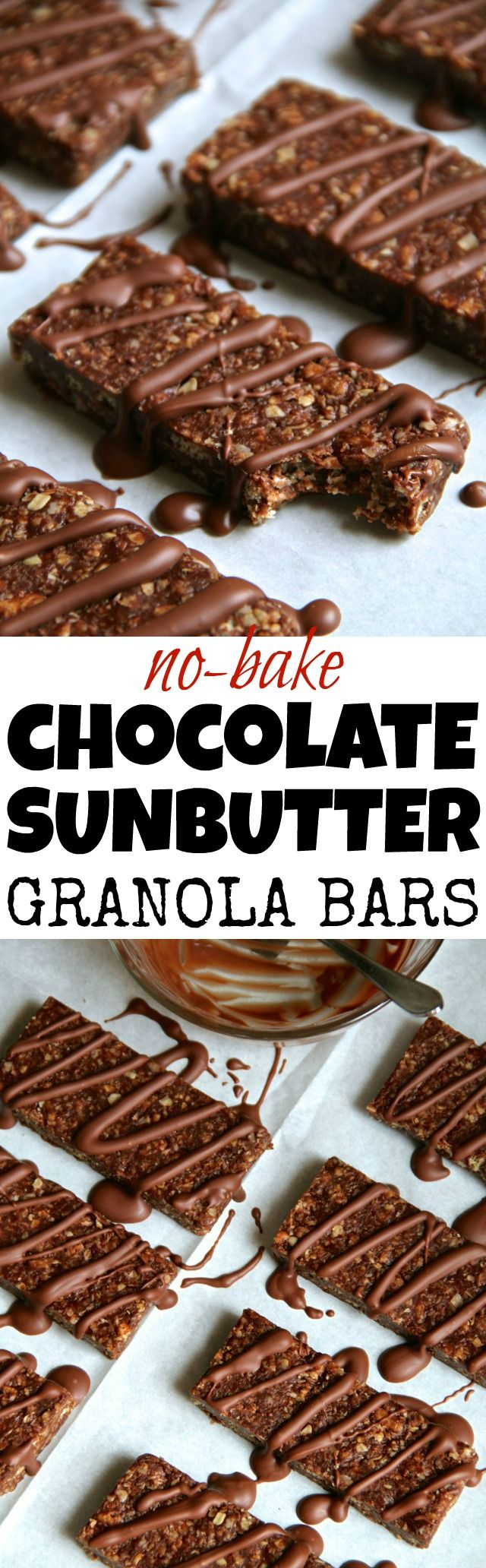 No Bake Chocolate Sunflower Seed Butter Granola Bars -- soft, chewy, and…