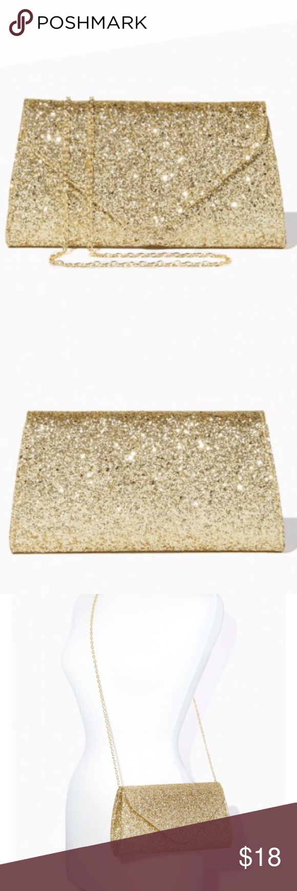 """Gold Glitter Crush Envelope Clutch Make every special occasion a glamorous one with this fold-over clutch with sparkling glitter. Comes with detachable shoulder strap. Used once for less than an hour. Like new! Measures 10""""x5.5""""x2"""" Charming Charlie Bags Clutches & Wristlets"""
