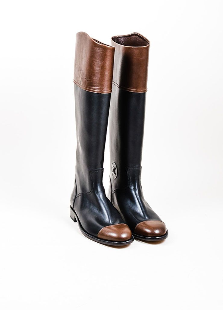 2430b0faf23 Black and Brown Chanel Leather Cap Toe Tall Riding Boots ...