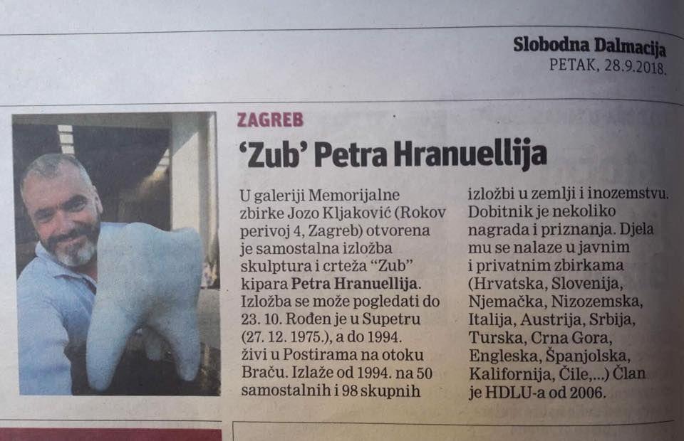 Petar Hranuelli Zub Galerija Jozo Kljakovic Zagreb 11 Mj 2018 Zagreb Event Ticket Event