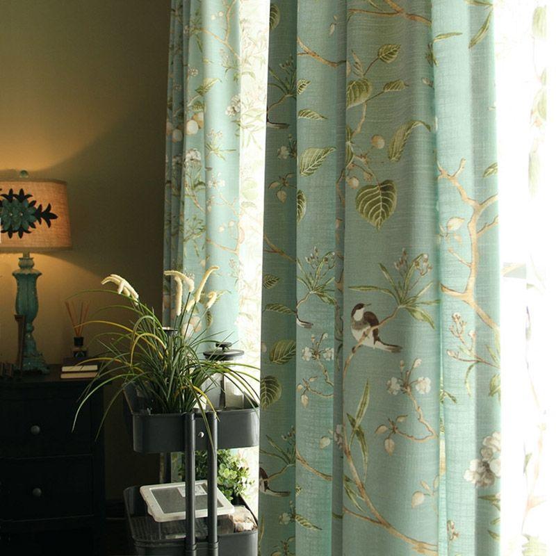Landhaus Vorhang Blau Grün Vögelchen aus Leinen im Wohnzimmer
