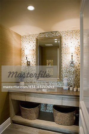 Mosaic Tile Wall Behind Bathroom Sink Image 169 Sheltered Images Masterfile Com Creative