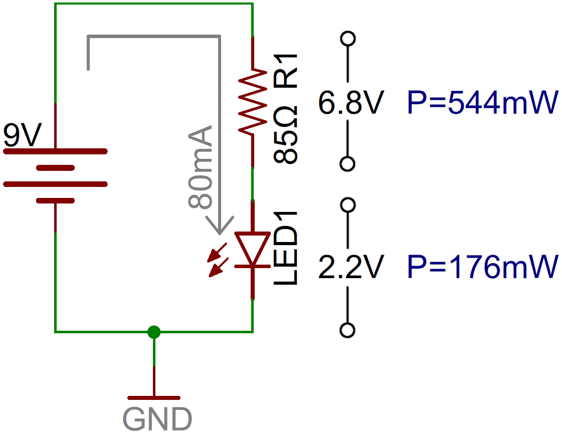 Led Circuit With Current Limiting Resistor Electricidad Ledcircuit