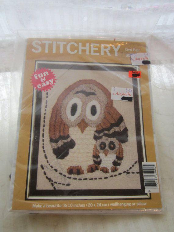 Owl Pair Crewel Stitchery Kit 1979 McNeill by MendozamVintage, $5.99