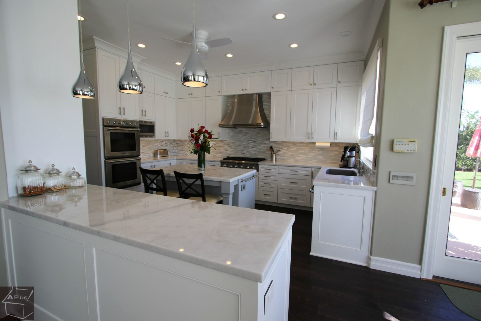 Transitional White Design Build Kitchen Entertainment Center Nook