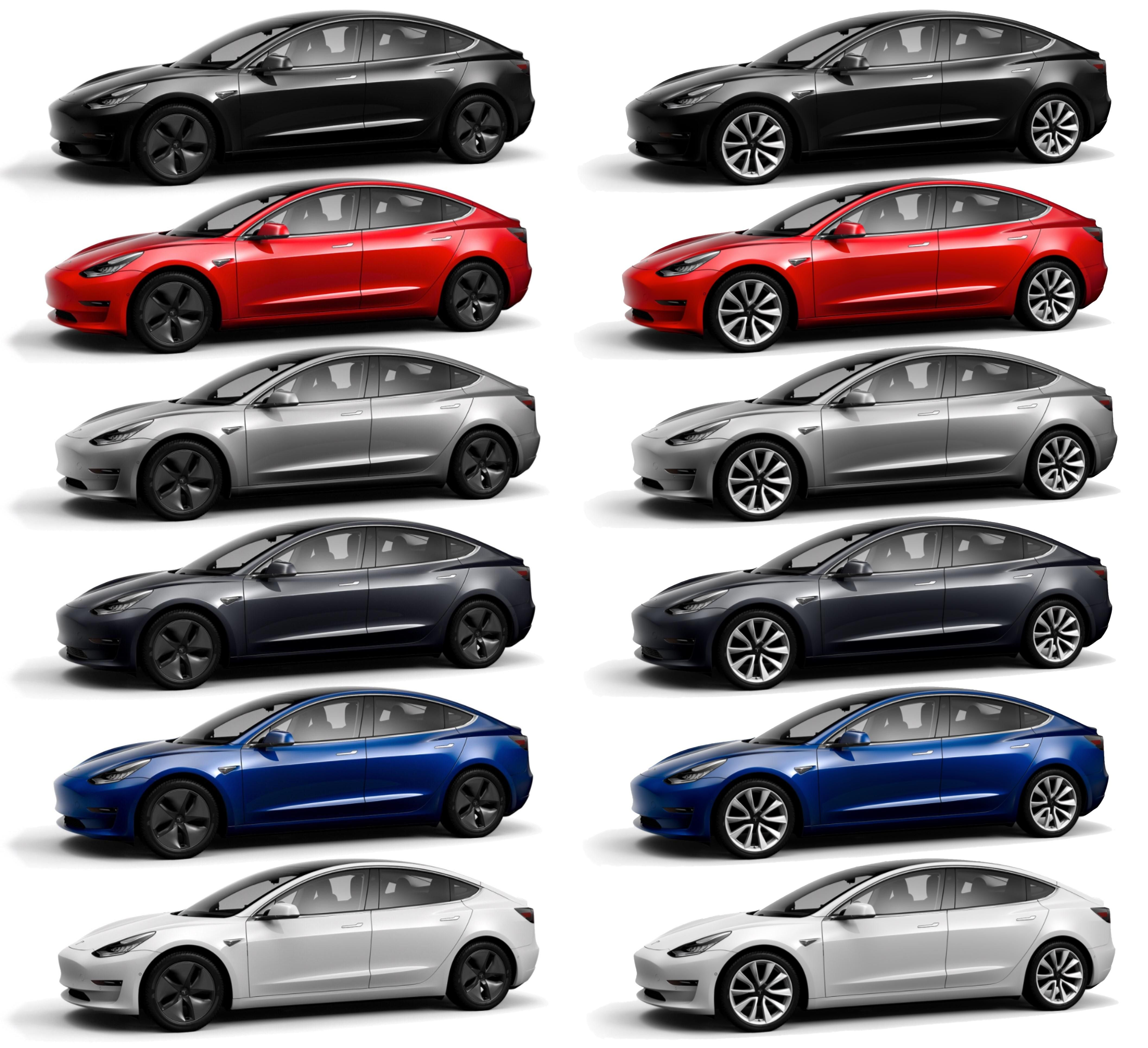 Tesla Model 3 Color Choice