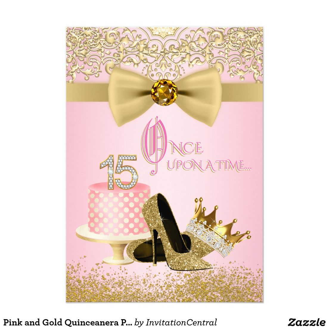 Pink and gold quinceanera princess 15th birthday card quinceaera pink and gold quinceanera princess 15th birthday card bookmarktalkfo Gallery