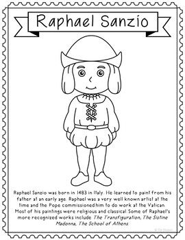Photo of Raphael Sanzio, Famous Artist Informational Text Coloring Page Craft