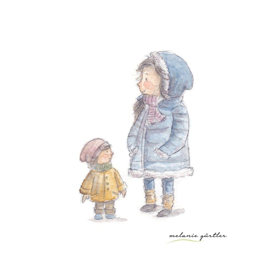 Mama Und Tochter Kalt Draussen Aquarell Kinderbuch Melanie