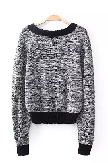 Grey O-neck Long Sleeves Loose Sweater