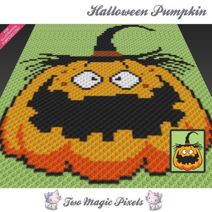 Halloween Pumpkin Crochet Blanket Pattern Knitting Cross Stitch