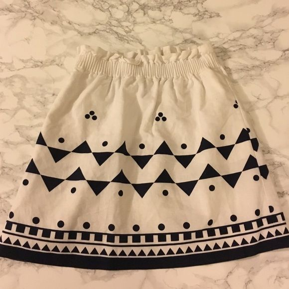 J. Crew cotton/linen rollerball skirt excellent condition! White/navy. Cotton/linen. Factory J. Crew Skirts Mini