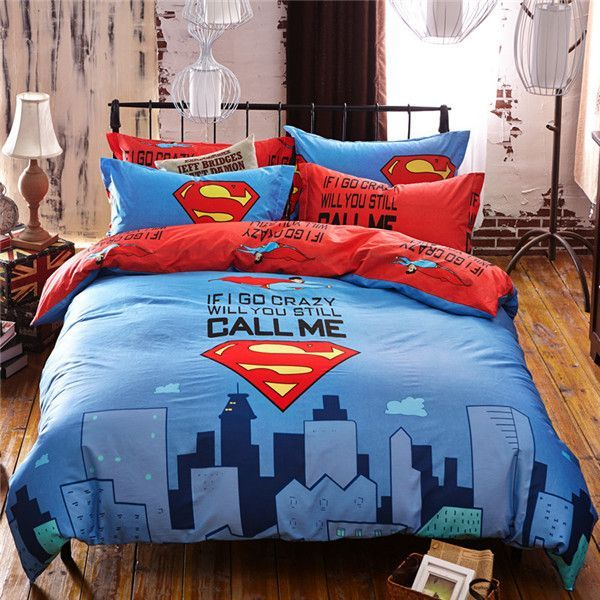 Charming Superman Cartoon Bedding Set | Superman | Pinterest | Bed Sets, Kids Rooms  And Room