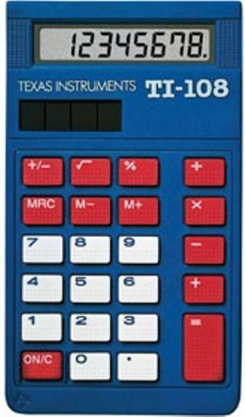 Texas Instruments Ti-108 Blue Basic School Calculator with Cover TESTED!!!!