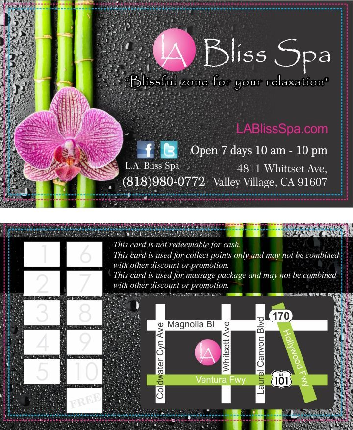 Set up your business cards for your spa with a safe area and bleed ...