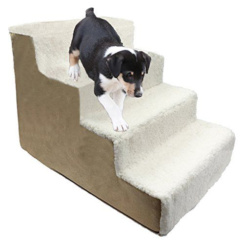 Homebase Dog Steps Beige Ivory Sherpa 4 Steps Pet Stairs Pet
