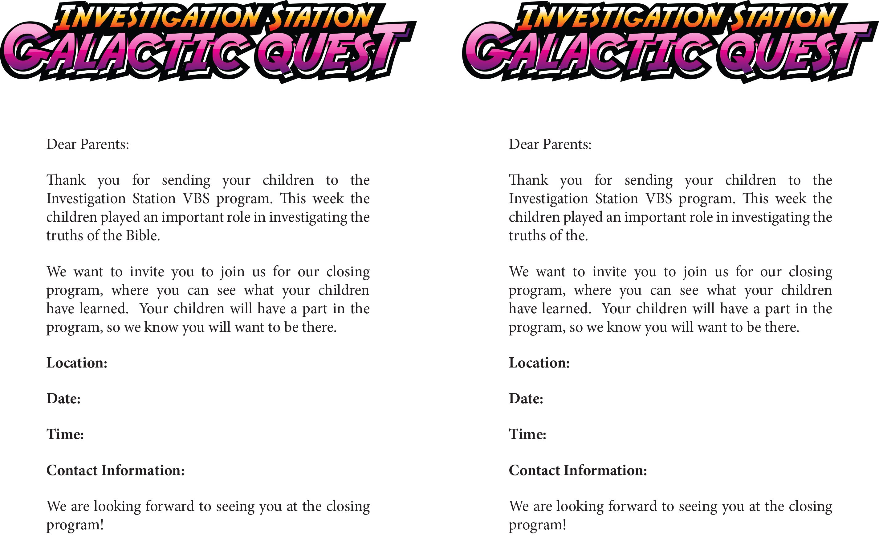 Share This Letter To Invite Parents To The Closing Program For