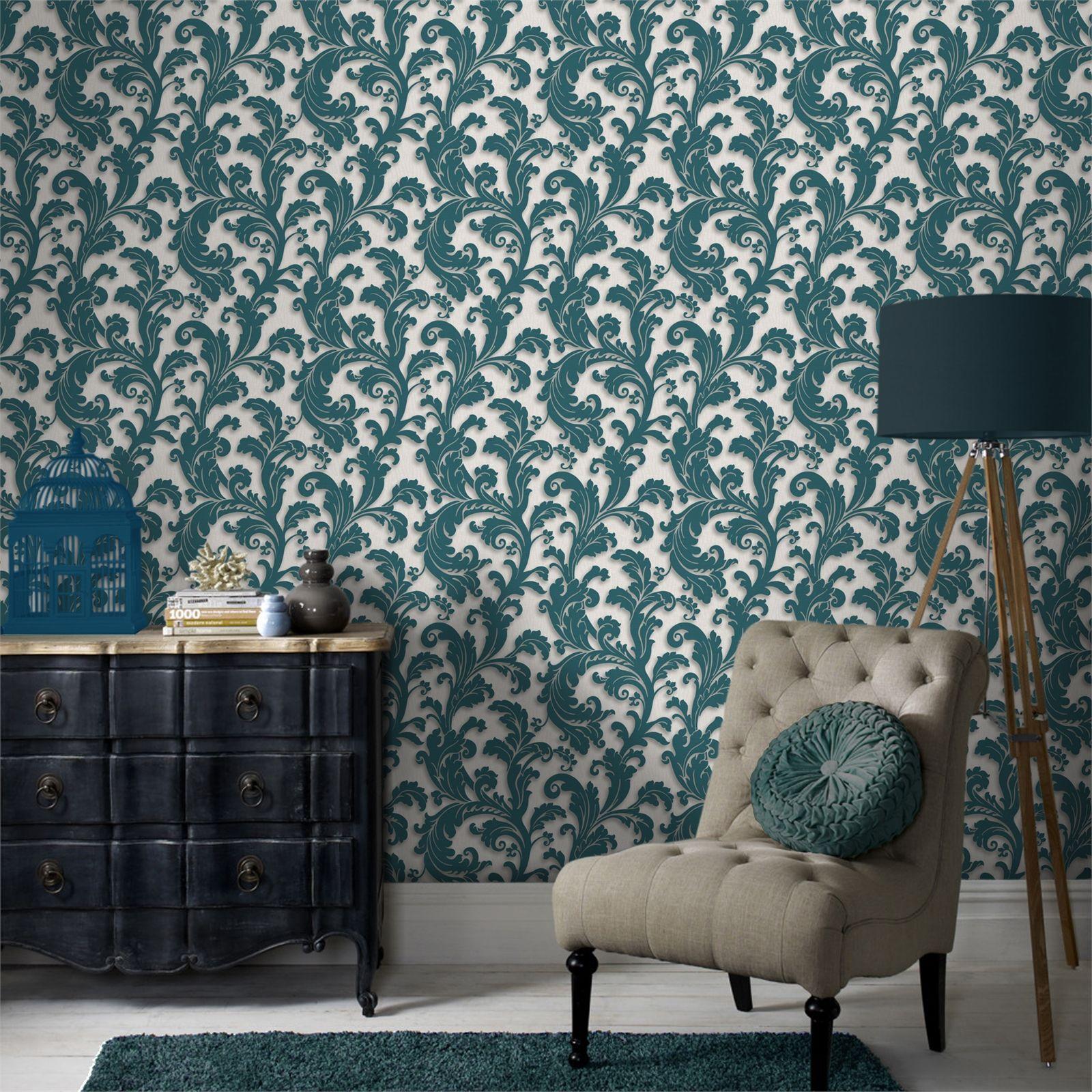 Graham Brown Capulet Teal 52cm X 10m Wallpaper Bunnings Warehouse Dining Room Wallpaper Grey Wallpaper Farmhouse Dining Room
