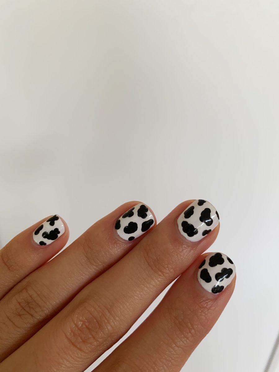 Cow Print Nail Art Insp In 2020 Cute Easy Nail Designs Paw Print Nails Cute Simple Nails