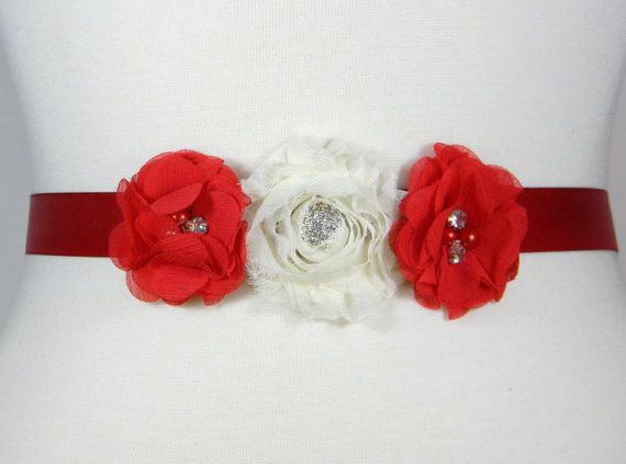 Check out this item in my Etsy shop https://www.etsy.com/listing/245351489/flower-girl-sash-bridesmaid-belt-scarlet
